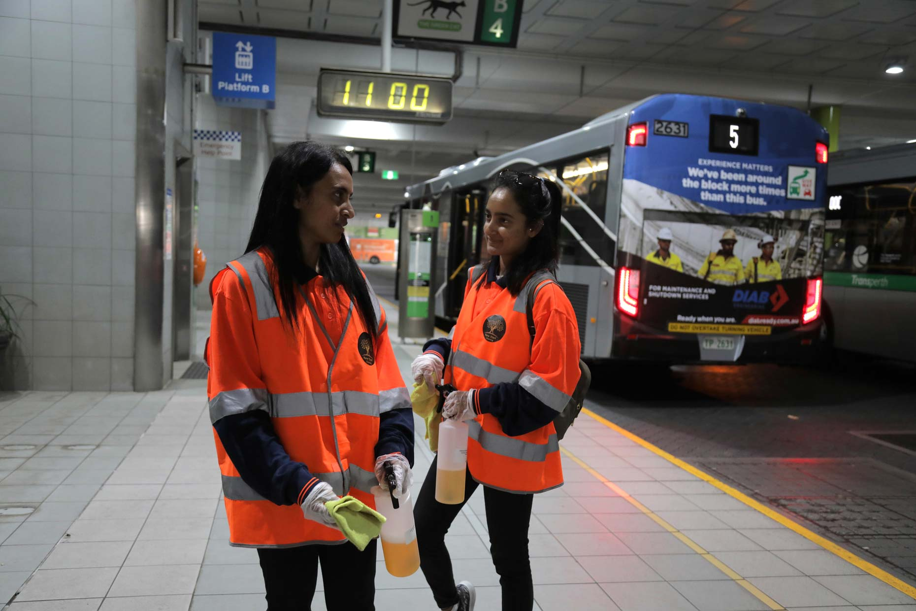 Cleaners employed to sanitise and disinfect at Elizabeth Quay bus depot during COVID-19 lockdown