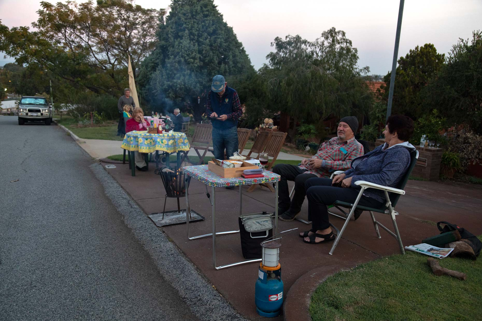 Suburban driveway dinner during COVID-19 lockdown