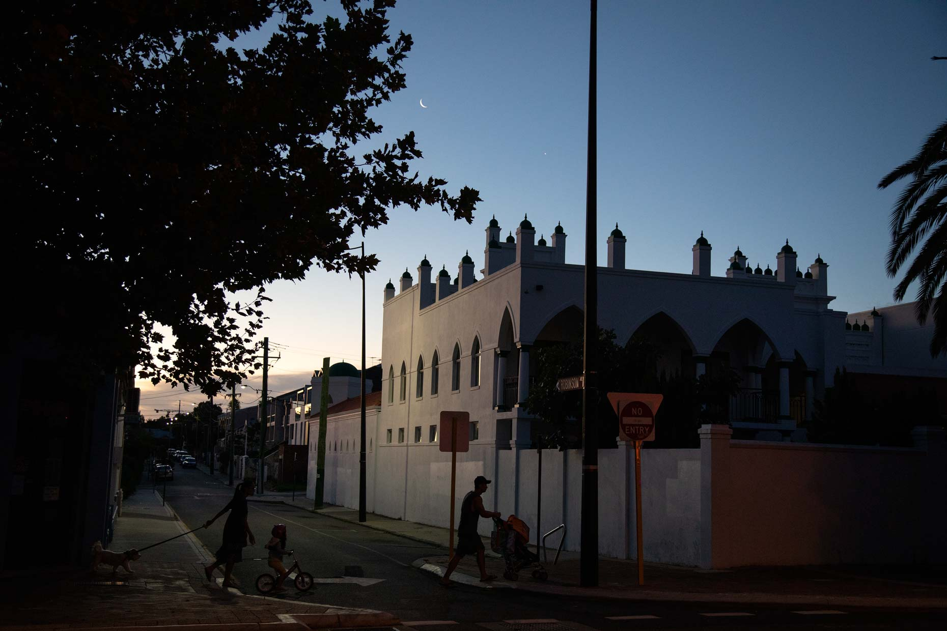 Perth Mosque at dusk during COVID-19 lockdown