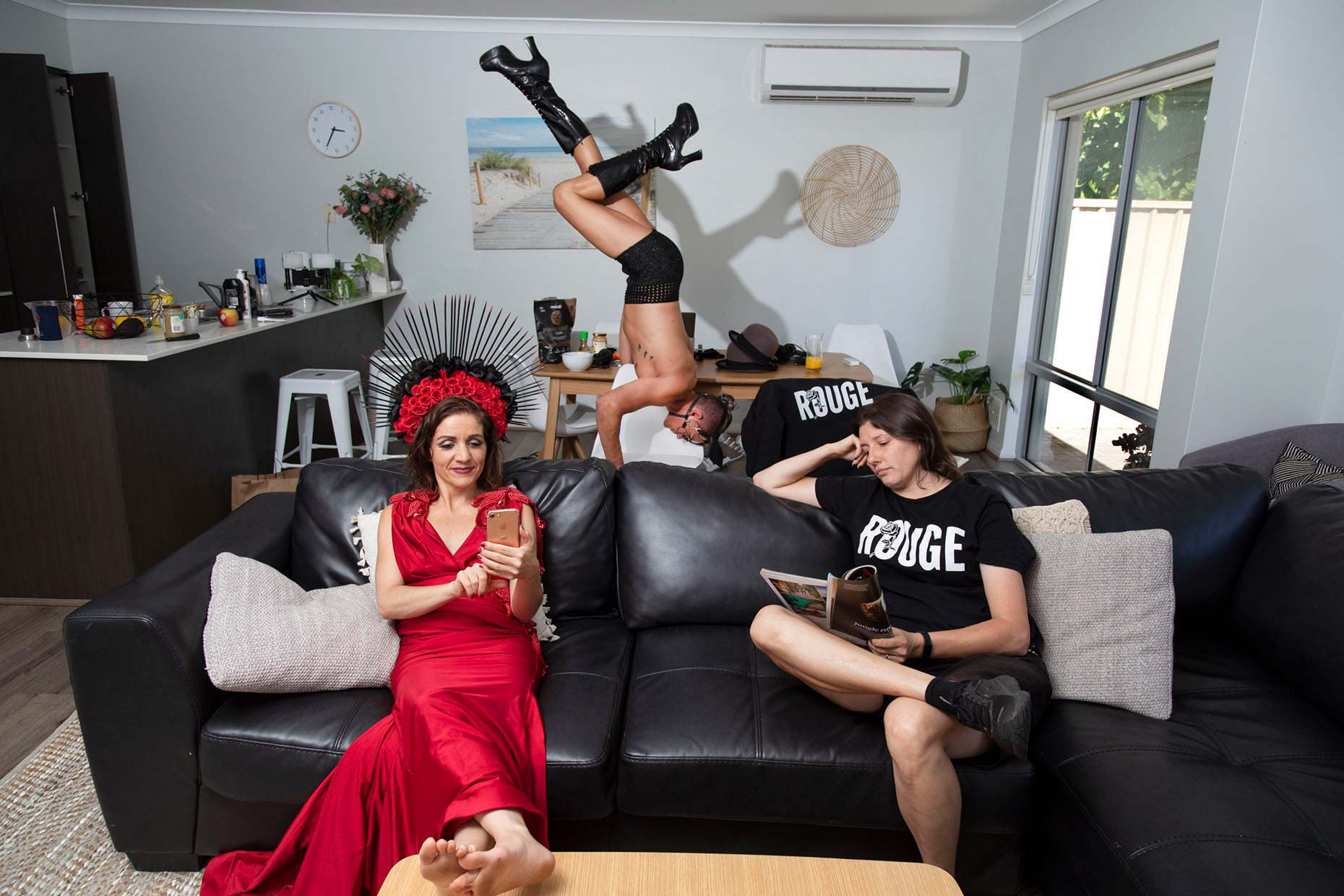 Rouge cabaret troupe at home during COVID lockdown